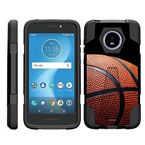 TurtleArmor | Compatible Motorola Moto E5 Cruise Case | Moto E5 Play Case [Dynamic Shell] Dual Hybrid Hard Impact Silicone Cover Kickstand Sports Games Design - Basketball - Graphic Sport Moto