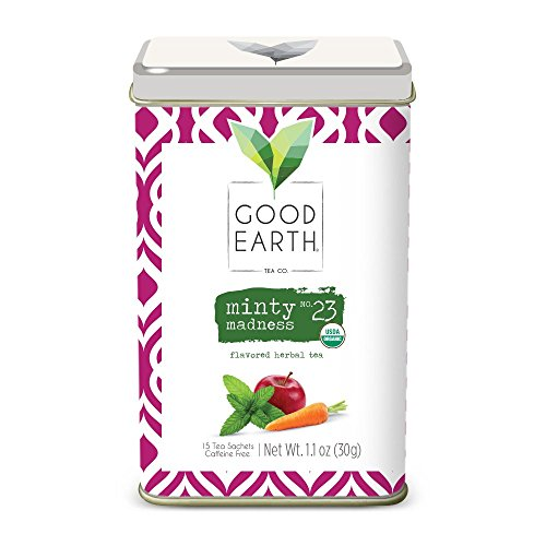 Good Earth Tea Minty Madness - Premium Organic Herbal Tea Sachets - Brightness of peppermint with sweet notes of organic apple and carrot and hints of allspice - Caffeine-free, 15 Count - Good Earth Mint Tea