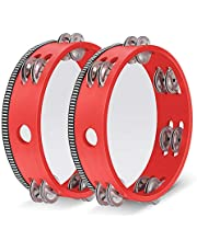 Flexzion Wood Handheld Tambourine 8 Inch Double Row 12 Pair Jingles (Red 2 Pack) - Hand Held Percussion Drum Moon Musical Instrument with Metal Bell