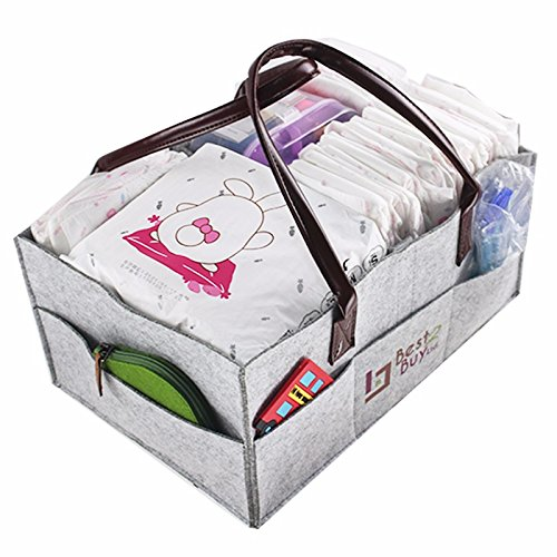 "Baby Diaper caddy Bag Nursery Storage Tote Bag 15""x10""x7""Por"