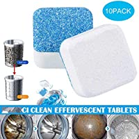 Washing Machine Cleaners, Womdee Washing Machine Tank Cleaning Sheet, Washer Decontamination Cleaning Detergent Effervescent Tablet Washing Machine Cleaner Descaler Deep Remover Deodorant (1/10Pcs)