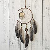 Gaddrt 16cm Dia Handmade Dream Catcher with Feathers Wooden Owl Wall Hanging Decoration Ornament