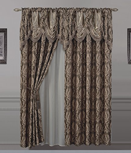 "All American Collection New 2 Panel Jaquard-Like Polyester Curtain with Attached Valance and Sheer Backing (110"" x 63"","