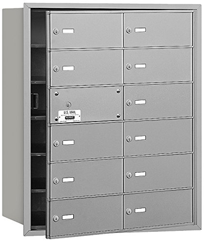 Salsbury Industries 3612AFP 4B Plus Horizontal Mailbox with Master Commercial Lock, 12 B Doors 11 Usable, Front Loading, Private Access, (12 Door Aluminum Mailbox)