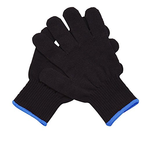 Mudder 2 Pack Heat Resistant Gloves for Curling, Curling Wand and Flat Iron, Black and Blue (Heat Glove Hair compare prices)
