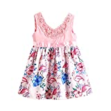 mioim Infant Toddler Baby Girls Dress Flamingos Lace Floral Casual Party Dresses Sundress
