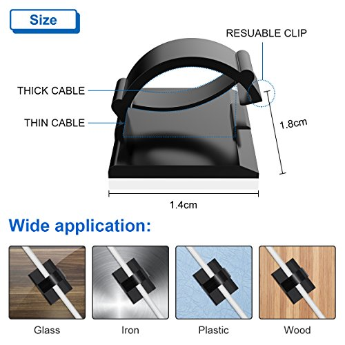 4c6dfee43c6e YoungRich 100 PCS Cable Clips Self-Adhesive Wire Holder Clamps Cable  Organizer Cord Holder Hider for Desktop TV PC Laptop USB Wires Keeping Neat  Tidy at ...