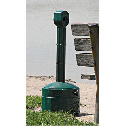 Justrite Cease-Fire Poly Butt Can - 11'' Dia.X30''H - 1-Gallon Capacity - Forest Green by C&H