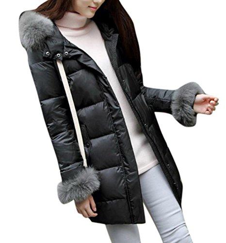 Enlishop Women's Winter Black Fox Fur Collar Bomber Down Coat Jacket With Hood