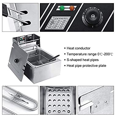 FROTH & FLAVOR Stainless Steel Electric Deep Fryer (Silver) 6 Litre with Copper Element 10