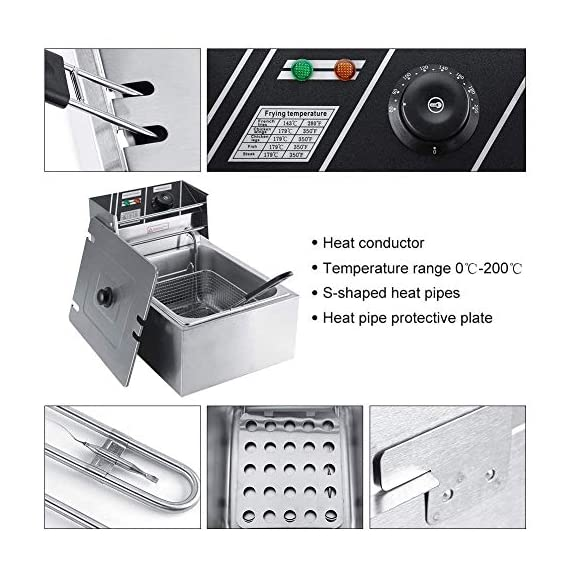 FROTH & FLAVOR Stainless Steel Electric Deep Fryer (Silver) 6 Litre with Copper Element 3