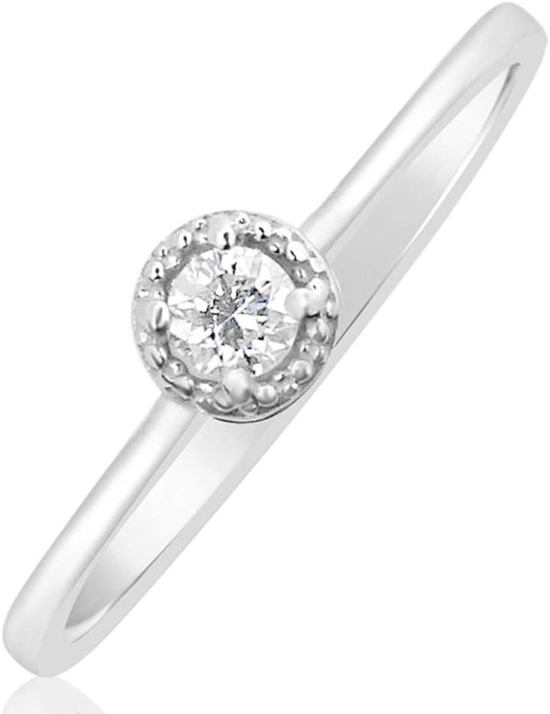 MILLE AMORI ∞ Anillo Mujer Compromiso Oro y Diamantes - Oro Blanco 9 Kt 375 ∞ Diamantes 0.07 Kt
