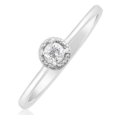 Bague Fiançailles pour Femme en Or et Diamants - Or Blanc 9 Carats 375