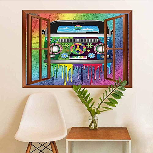 AuraiseHome Groovy Decorations Removable Self Adhesive Window Stickers Old Style Hippie Van with Dripping Rainbow Paint Mid 60s Youth Revolution Movement Theme Eco-Friendly PVC W36xL48 ()