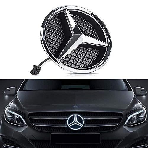 (DIYcarhome LED Emblem Car Logo Grid LED Grille Badge Front Light White Illuminated for Mercedes Benz 2013-2015 A B C E R GLK ML GL CLA CLS Class Series - Drive Brighter Not Transparent Grid)
