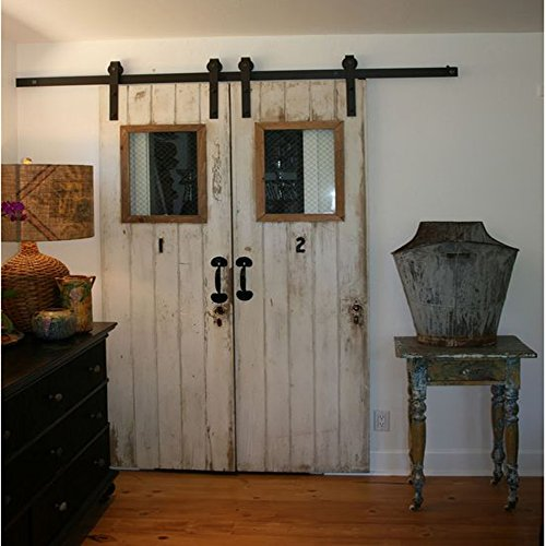 Hahaemall 12FT American Modern Interior Country Steel Brackets Sliding Double Barn Wood Door Hardware Roller Track Garage Set