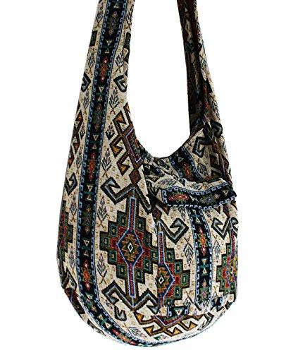 Top Tribal Green Thai AM Asia Bag Crossbody Striped Cotton Hmong Bag Handmade Bag Zip 8 Boho Sling Thai Thai Boho Shoulder Ethnic Bag Pattern Stripe ATSUqnw