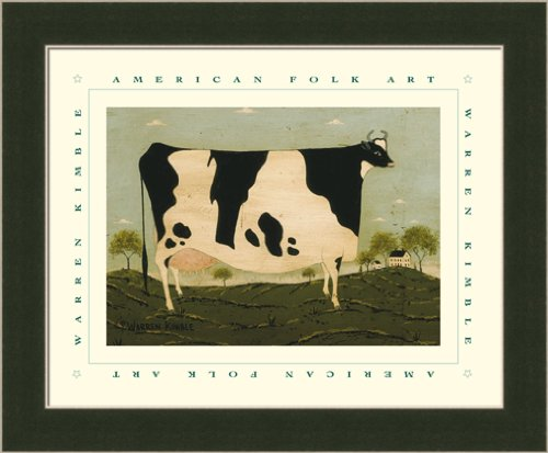 American Cow by Warren Kimble Primitive Folk Wall Art Print Framed Décor