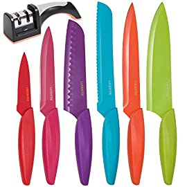 Stainless Steel Kitchen Knife Set - 13 Piece - BONUS Sharpener - 6 Knives - Chef, Bread, Carving, Paring, Utility and Santoku Knife - Cutlery Sets - Multicolor by Lucentee 41 HIGH-QUALITY STAINLESS STEEL KITCHEN KNIFE SET  This fantastic 6-piece set consists of: 4 inch Paring Knife, 5 inch Utility Knife, 8 inch Carving Knife, 8 inch Chefs Knife, 13 inch Bread Knife and 7 inch Santoku Knife. Here at Lucentee weve decided to include a 2 Stage Professional Knife Sharpener as even fine quality kitchen knives like these will lose sharpness over time, no matter how carefully you treat them. All in all one of the best culinary knife sets on the market! KNIFE SET FEATURES - made from fine quality 3CR13 stainless steel coupled with laser finish, giving the blade a smooth, clear grain finish. Not only does the non-stick coating make it easy to cut with each knife, they are super easy to clean and dishwasher safe too (though we recommend hand washing for longevity). The ergonomically designed hollowed Polypropylene (PP) handle fits perfectly into the curve of your hand, thus allowing comfort whilst cutting. Blade guards included. SHARPENER FEATURES  There are Two sharpening modes  a coarse sharpener for blunt knives to be used every 6 months or so and a fine sharpener for regular use and maintenance of sharp blades. It is extremely safe and comfortable to use, with an ergonomically designed soft-grip handle  suitable for both right and left handers  and non-skid feet. It can be used for all stainless steel knives except the serrated bread knife and comes with knife sharpening guide.