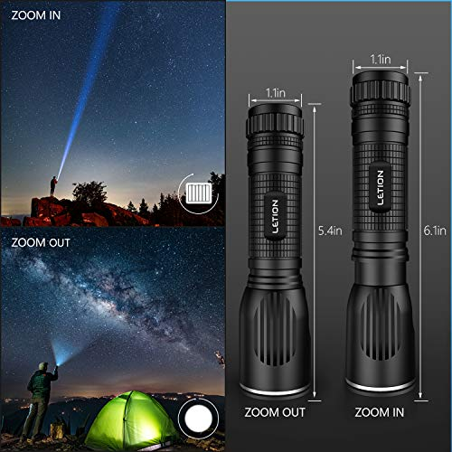 LETION UV 2 in 1 Flashlights, LED Tactical Flashlight S1000 - High Lumen, 12 Modes, Zoomable, Water Resistant, Handheld Light High 4 Modes IPX4 Waterproof Handheld Flashlight for Emergency, Camping