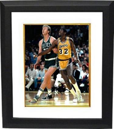 de748878571 Larry Bird signed Boston Celtics 8x10 Photo Custom Framed (vs Magic  Johnson)- JSA