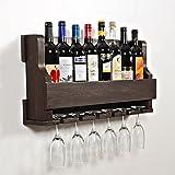 "Woodymood Natural Wine Rack Gloss Holder, Wall Mounted Wine Racks, 8 Bottles, Hangers for 6 wine glasses, W:28.5"" L:4"" H:13"" (Dark Brown)"