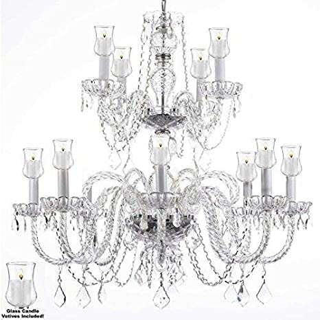 new product 434d7 cb1b9 Crystal Chandelier Lighting Chandeliers W/Candle Votives H ...
