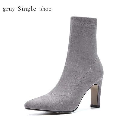 Hy Womens Socks Shoes Stretch Velvet 2018 New Fall/Winter Heel Booties Elastic Booties/