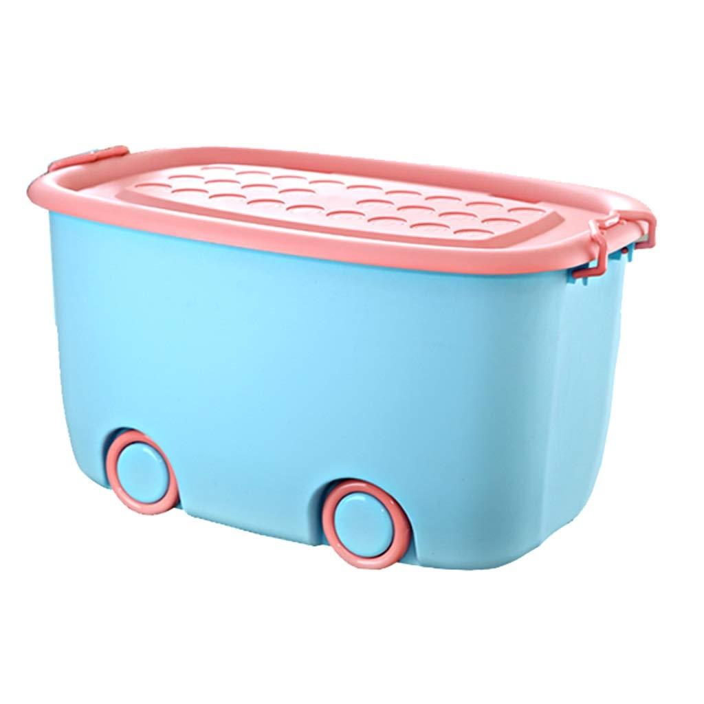 Ying Bathtub Children Plastic Band Wheeled Bathtub,Household Storage Box (Color : Sky Blue)