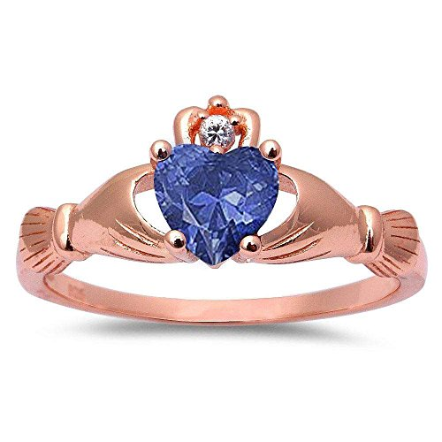(Oxford Diamond Co Rose Gold Plated Simulated Tanzanite & Cubic Zirconia Claddagh .925 Sterling Silver Ring Sizes 4 )