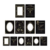 Tim Holtz Idea-ology Cabinet Cards Chipboard Frames 6 Per Pack, Sophisticate, Fits 3 x 4 and 4 x 6 Inch Photos, Black and Gold (TH93288)