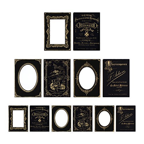Tim Holtz Idea-ology Cabinet Cards Chipboard Frames 6 Per Pack, Sophisticate, Fits 3 x 4 and 4 x 6 Inch Photos, Black and Gold (TH93288) by ADVANTUS CORPORATION (Image #4)