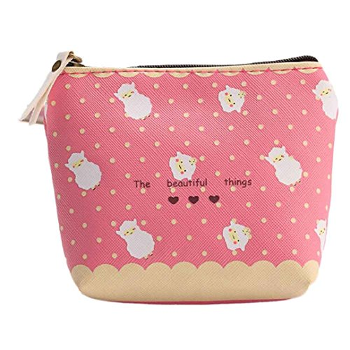 FENZL Cheap Waterproof Zipper Pencil Case Cute Portable Key Coin Purse Makeup Bag (Hot Pink)