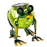 ReLIVE 6 Inch Bronze Green Metal Frog Cracked Glass Ball Outdoor Solar Powered LED Garden Light