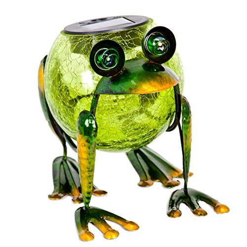 ReLIVE 6 Inch Bronze Green Metal Frog Cracked Glass Ball Outdoor Solar Powered LED Garden Light (Frog Garden Decor)
