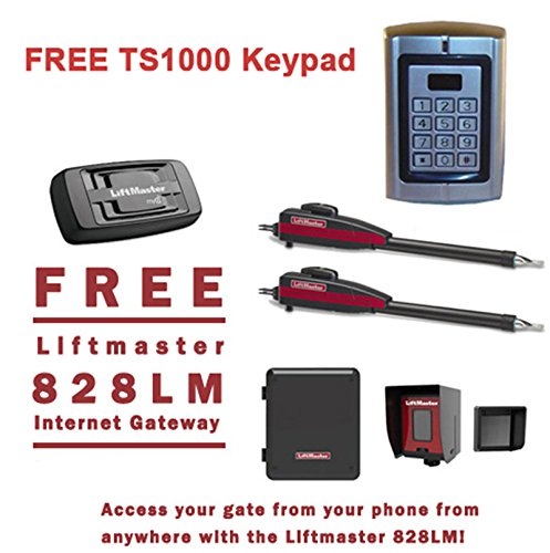 Liftmaster LA400PKGU Dual Swing Gate Opener Kit - Free Liftmaster 828LM Internet Gateway & FREE TS1000 Keypad Reader! by FAS