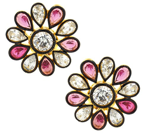 the-jewelbox-7-stone-flower-kundan-polki-american-diamond-sapphire-pink-gold-plated-stud-earring-for