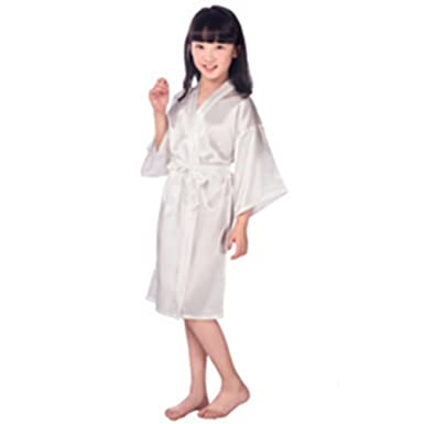 Baby Girls Silk Satin Kimono Robes Bathrobe Sleepwear Kids Spa Party  Birthday Flower Girl Night Dress 92b81b5aa