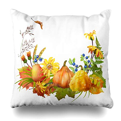 Ahawoso Decorative Throw Pillow Cover Collage Abundance Watercolor Autumn Pumpkin Flowers September Fall Nature Artistic Berry Blueberry Home Decor Pillowcase Square Size 16