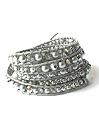 M&B Silver Pearl and Crystal (6-8mm) Multi Layer Beaded Women's Wrap Leather Bracelet