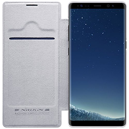 Samsung Galaxy Note 8 Case ,Samsung Galaxy Note 8 Synthetic Leather Case ,Opdenk- Nillkin Qin Ultra Thin Card Slot Smart Case Flip Leather Case Cover For Samsung Galaxy Note 8 (White)