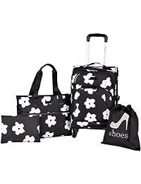 White Flowers 4 Piece Fashion Luggage and Travel Set