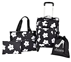 Kensie White Flowers 4 Piece Fashion Luggage & Travel Set