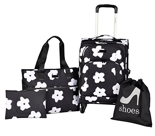 - kensie White Flowers 4 Piece Fashion Luggage and Travel Set
