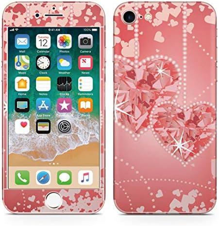 igsticker iPhone SE 2020 iPhone8 iPhone7 専用 スキンシール 全面スキンシール フル 背面 側面 正面 液晶 ステッカー 保護シール 005001 ラブリー ハート 赤 ピンク 宝石