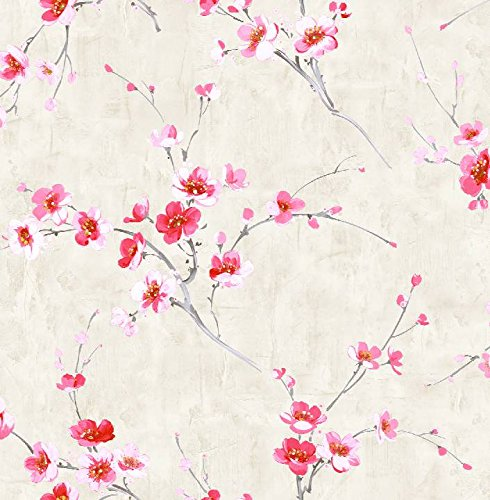 Wallpaper Designer Red Pink White Yellow Cherry Blossoms on Gray Faux