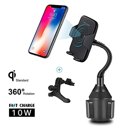 Ruiyue Wireless Charger Car Mount, Automatic 10W Cup Holder Qi Charger, Wireless Fast Charging Air Vent Phone Mount Compatible with iPhone Xs ...