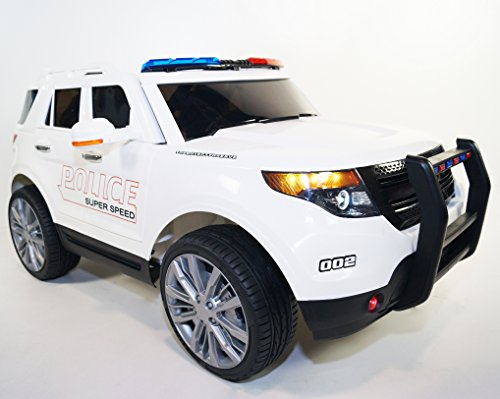 Price comparison product image Ride on POLICE style car.Car on electric battery 12V total.With R / C.Electric car style FORD for kids 2 to 6 years.Battery operated.Ride on Power Wheels Led lights MP3 Opening Doors Ride On Toy