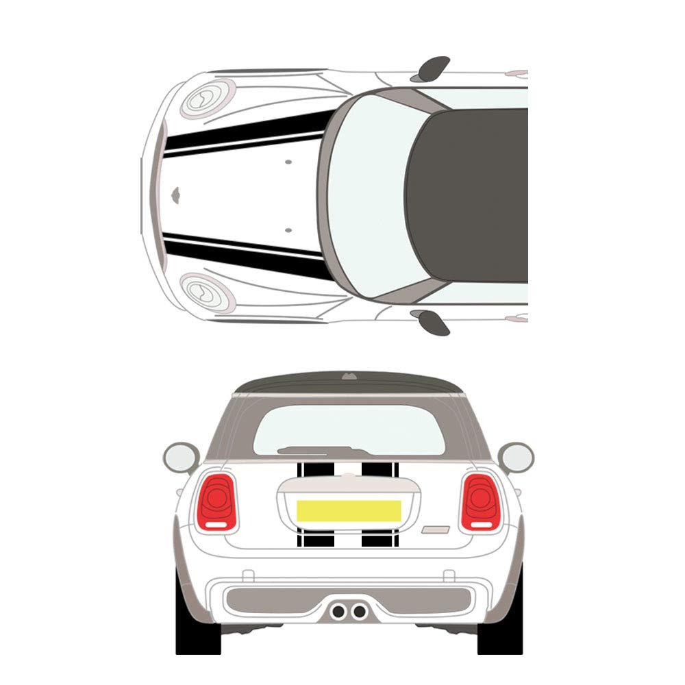 Nero DSYCAR 1 Set Car Styling Cofano anteriore Strisce posteriori Cappuccio cofano motore Copertura Decal Adesivi per auto per BMW Mini F60