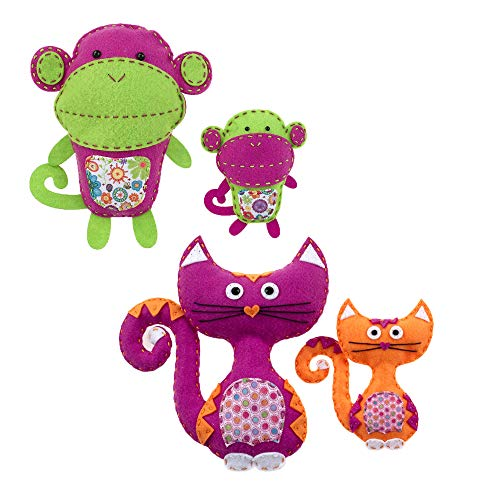 American Girl Crafts DIY Fox Stuffed Animals Sew and Stuff Kit (Monkey & Cats)